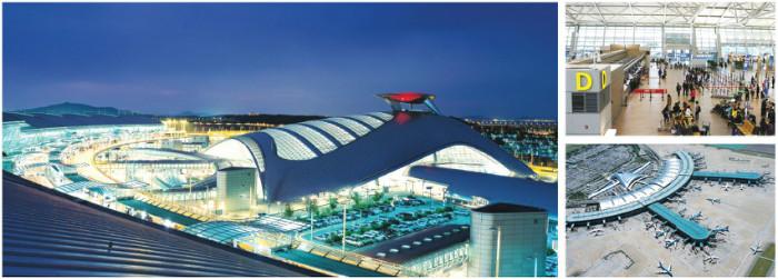 허브공항인 인천국제공항 - 인천국제공항은 24시간 운영이 가능한 전천후 중추공항이며, 세계 항공기들이 모이는 지역 거점공항이다.오사카 간사이공항, 홍콩 첵랍콕공항, 상하이 푸둥공항, 2001년 개항한 인천국제공항이 동북아시아의 허브공항으로 유명하다. 사진은 인천국제공항의 내·외부 전경