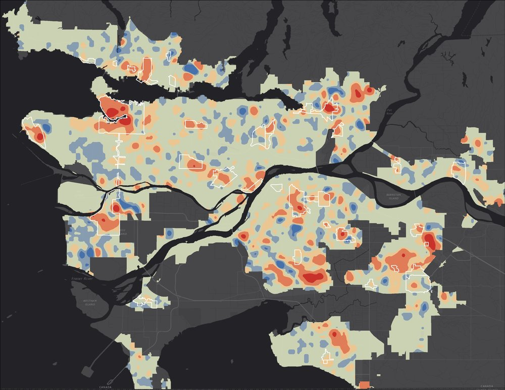 Population Density Changes in Metro Vancouver 2011-2016