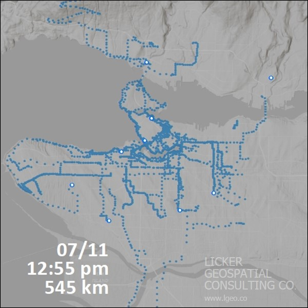 Cumulative Cycling Traffic from Biko Users in July