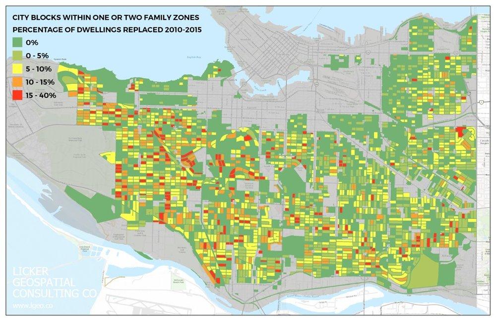 Heat map of demolitions by block