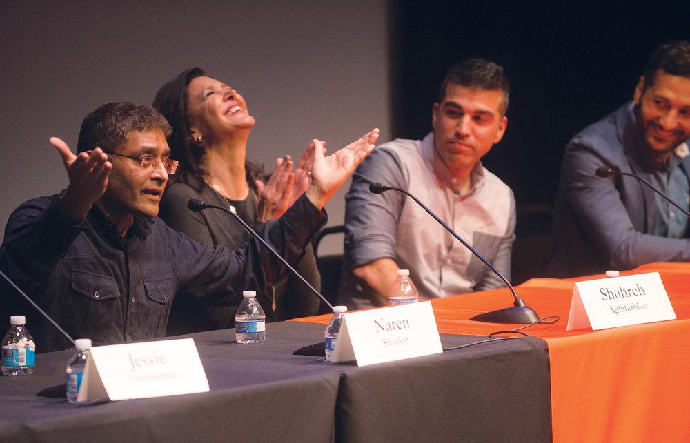 Naren Shankar, Shohreh Aghdashloo, Bobak Ferdowsi, Cas Anvar at  The Expanse panel at Caltech.  Photo/Caltech