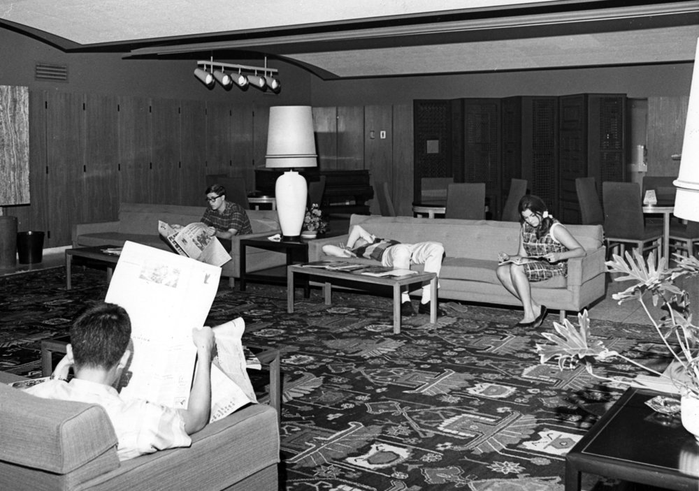 The Winnett student lounge in the 1960s.