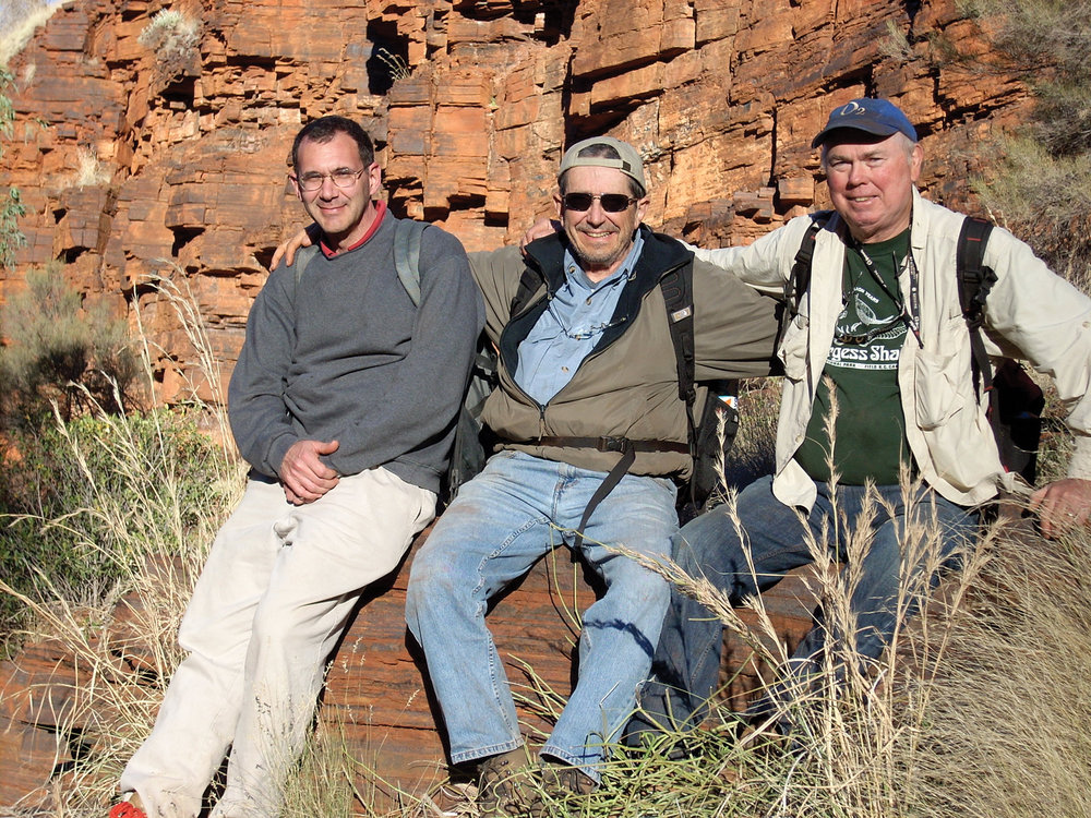 "From left: Edward Stolper, Mel Simon, and John Abelson on a field trip in Western Australia to look for evidence of the earliest history of life on Earth.  Photo          96              Normal   0           false   false   false     EN-US   X-NONE   X-NONE                                                                                                                                                                                                                                                                                                                                                                                                                                                                                                                                                                                                                                                                                                                                                                                                                                                                                     /* Style Definitions */ table.MsoNormalTable 	{mso-style-name:""Table Normal""; 	mso-tstyle-rowband-size:0; 	mso-tstyle-colband-size:0; 	mso-style-noshow:yes; 	mso-style-priority:99; 	mso-style-parent:""""; 	mso-padding-alt:0in 5.4pt 0in 5.4pt; 	mso-para-margin:0in; 	mso-para-margin-bottom:.0001pt; 	mso-pagination:widow-orphan; 	font-size:12.0pt; 	font-family:""Calibri"",sans-serif; 	mso-ascii-font-family:Calibri; 	mso-ascii-theme-font:minor-latin; 	mso-hansi-font-family:Calibri; 	mso-hansi-theme-font:minor-latin;}     courtesy John Grotzinger"