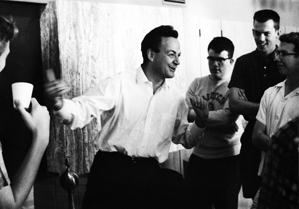 Richard Feynman at coffee hour in the Winnett Center with Caltech students (June, 1964).  Photo/Kent McCaulley