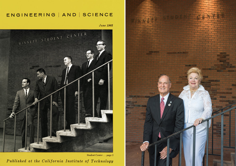 Fred and Joyce Hameetman made possible the construction of the Hameetman Center, which will replace Winnett, with their generous gift to the Institute. Left photo courtesy of the Caltech Archives. Right photo: Chris Flynn.