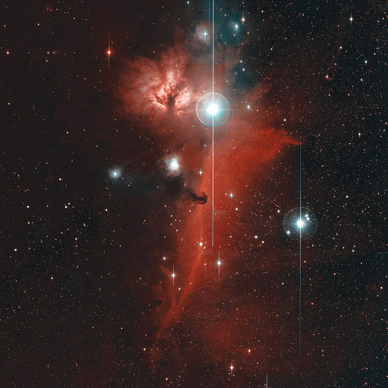 This image shows the Horsehead nebula. The head of the horse (middle) faces up toward another well-known nebula known as the Flame.Computers searching these images for transient,or variable, events are trained to automatically recognize and ignore non-astronomical sources,such as the vertical lines seen here.