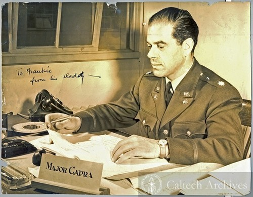 Frank Capra, serving the in U.S. Army, in the 1940s.  Photo/Caltech Archives