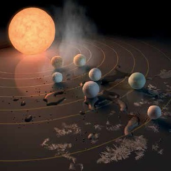"In Robert Hurt's concept of the TRAPPIST-1 system of exoplanets, the idea of a ""habitable zone"" is captured through water splashes that vaporize when too close to the star and freeze when too distant."