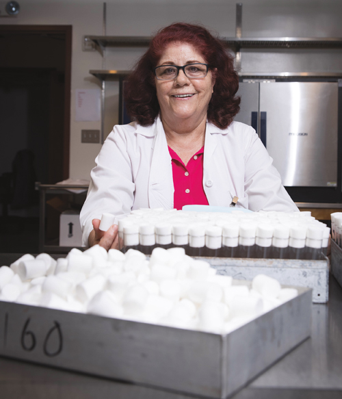 Aurora Ruiz Sandoval is in charge of making food for the fruit flies used in research in labs throughout the Division of Biology and Biological Engineering.