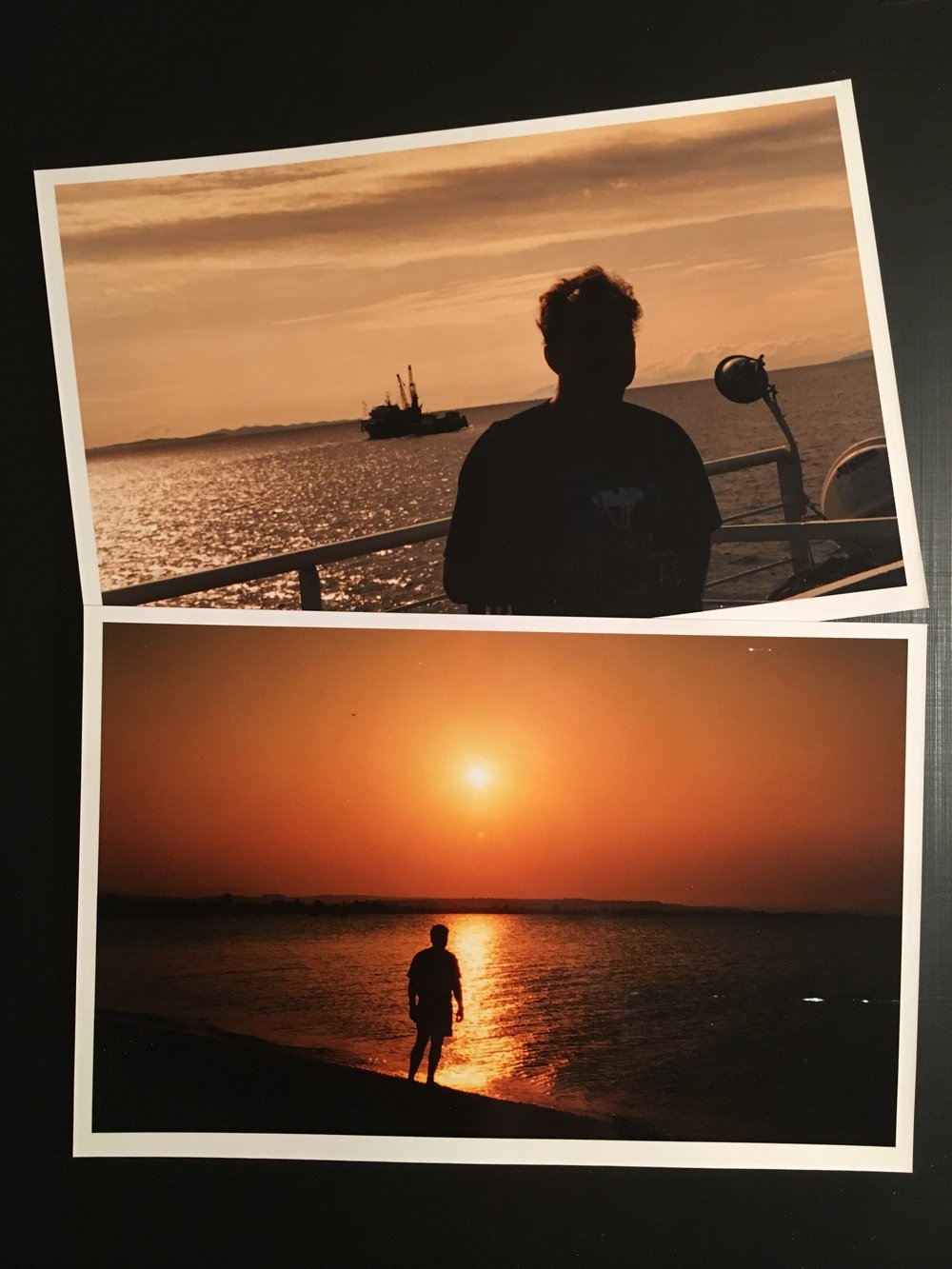 On the ferry and beach at sunset. Greece, early 90's.