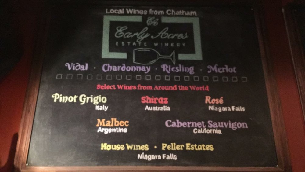 Wine Wednesday...got the chalkboard done just in time! 6oz glass for $5 (tax in.), all day.