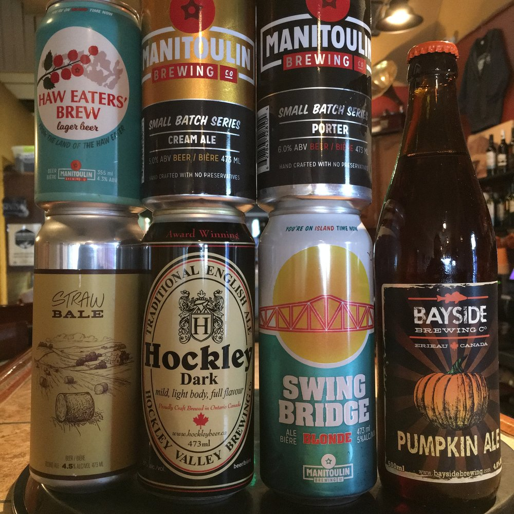 Manitoulin's Haw Eater Lager ($4.50 shorty), Cream Ale, Porter and Swing Bridge, Hockley Dark, Sod Buster's Straw Bale Blond Ale, Bayside's Pumpkin Ale, Big Rig's Pumpkin Porter (not shown).
