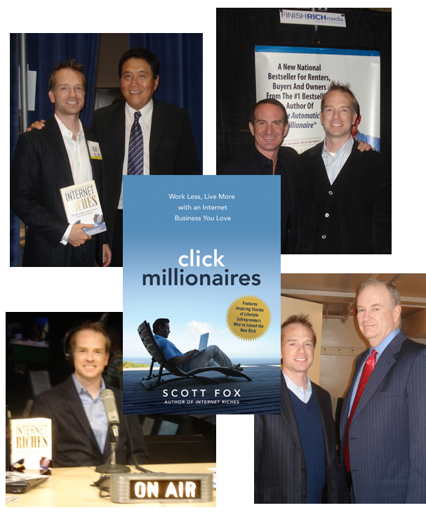 "Scott Fox with fellow authors Robert Kiyosaki (""Rich Dad, Poor Dad""), David Bach (""Automatic Millionaire""), and Bill O'Reilly (Fox News)"