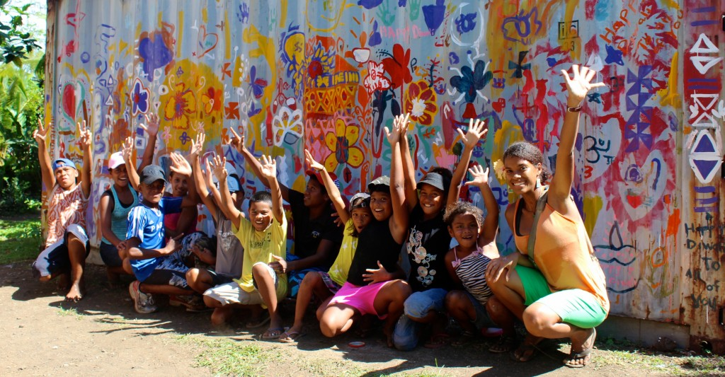 Kids with mural