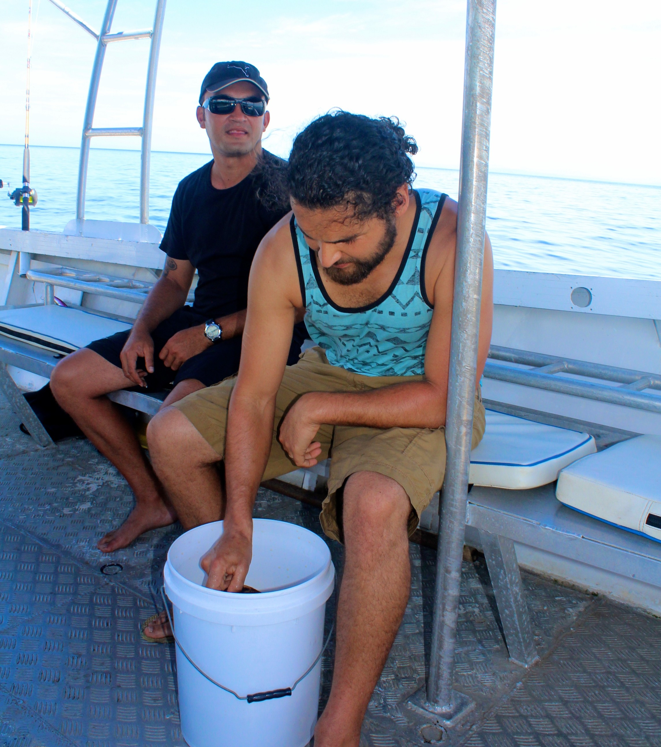 Jack mixing kava on boat