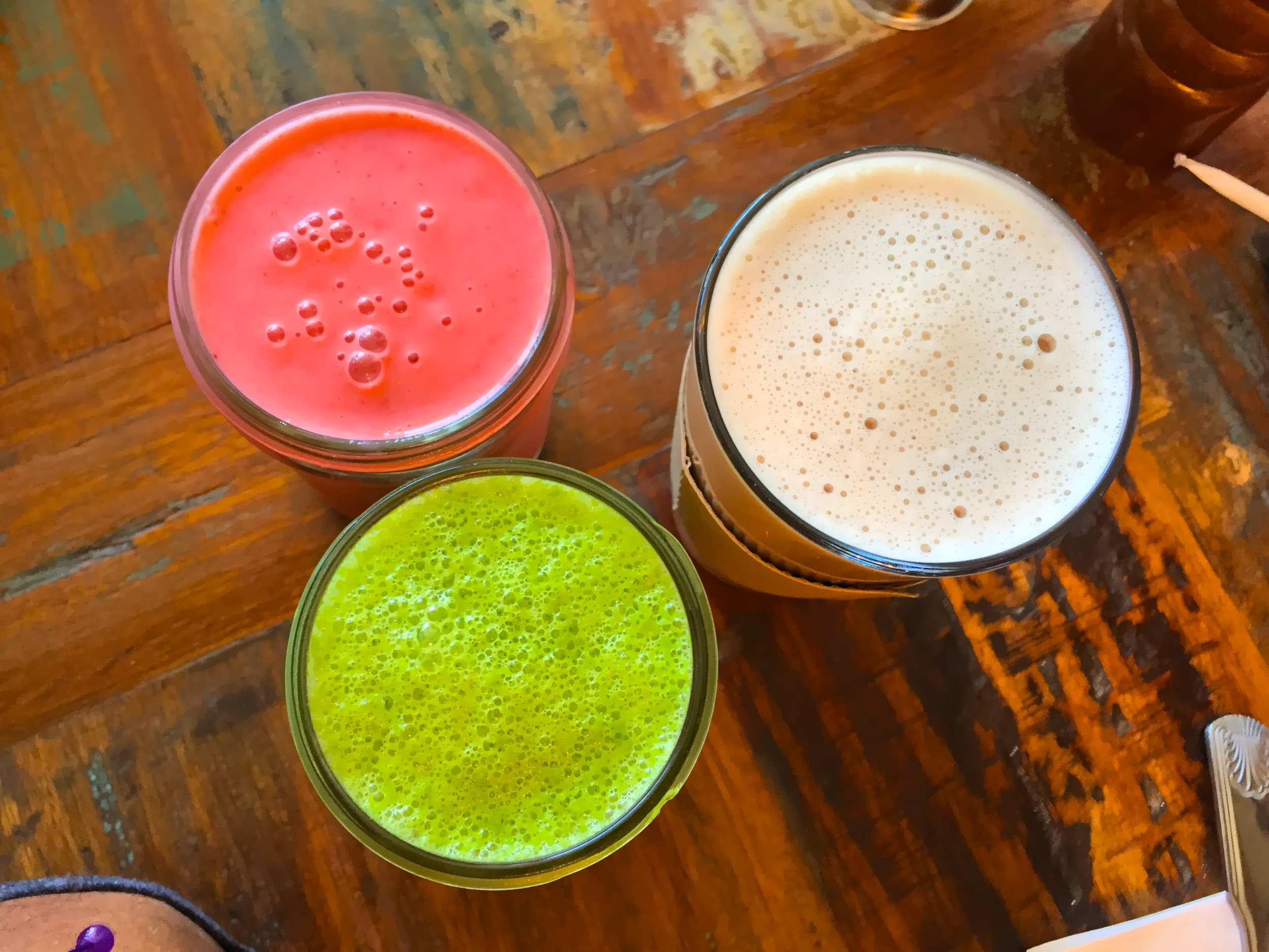 green smoothie, pink smoothie and coconut chai