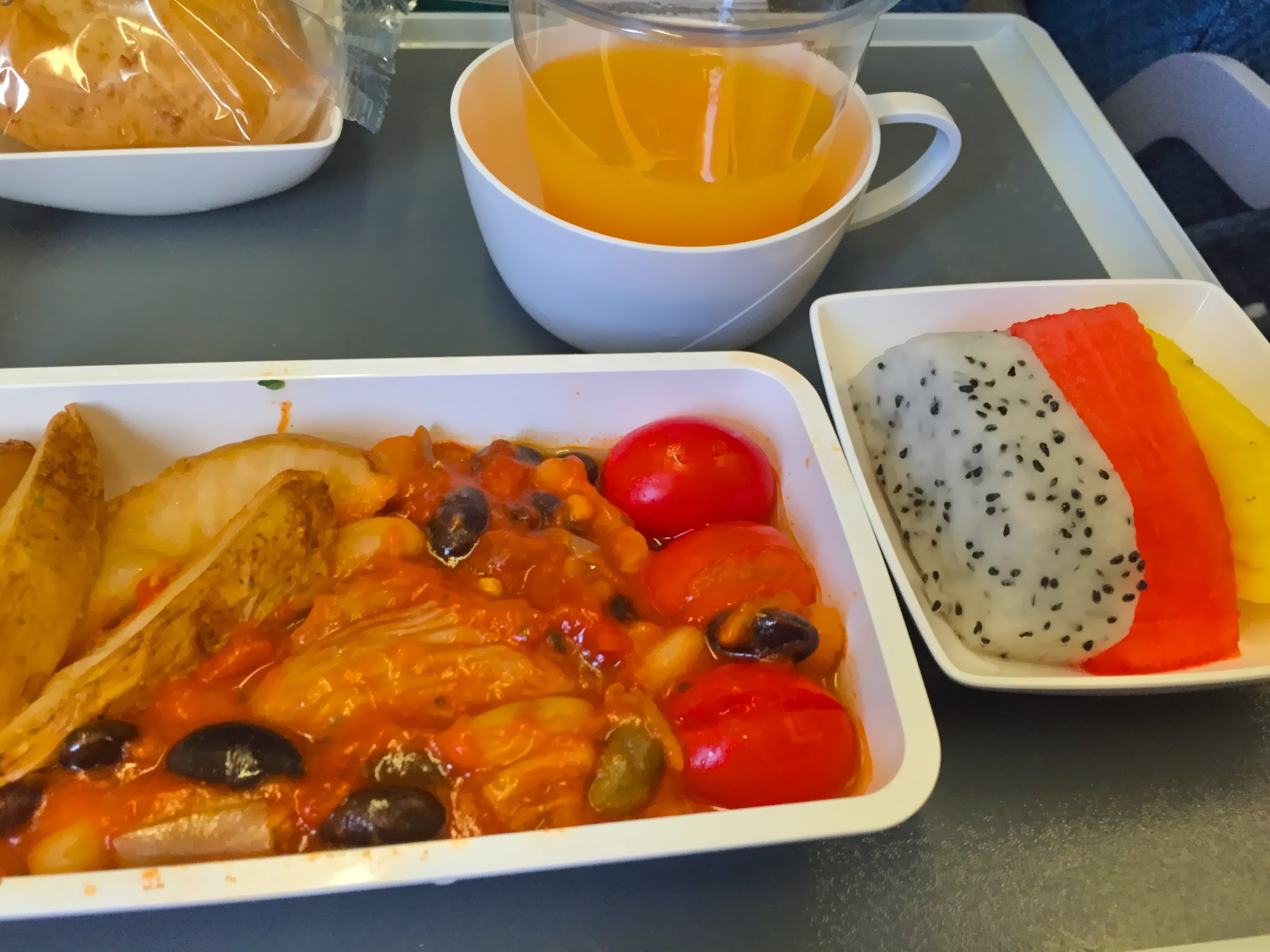 Vegan meal on Singapore airlines