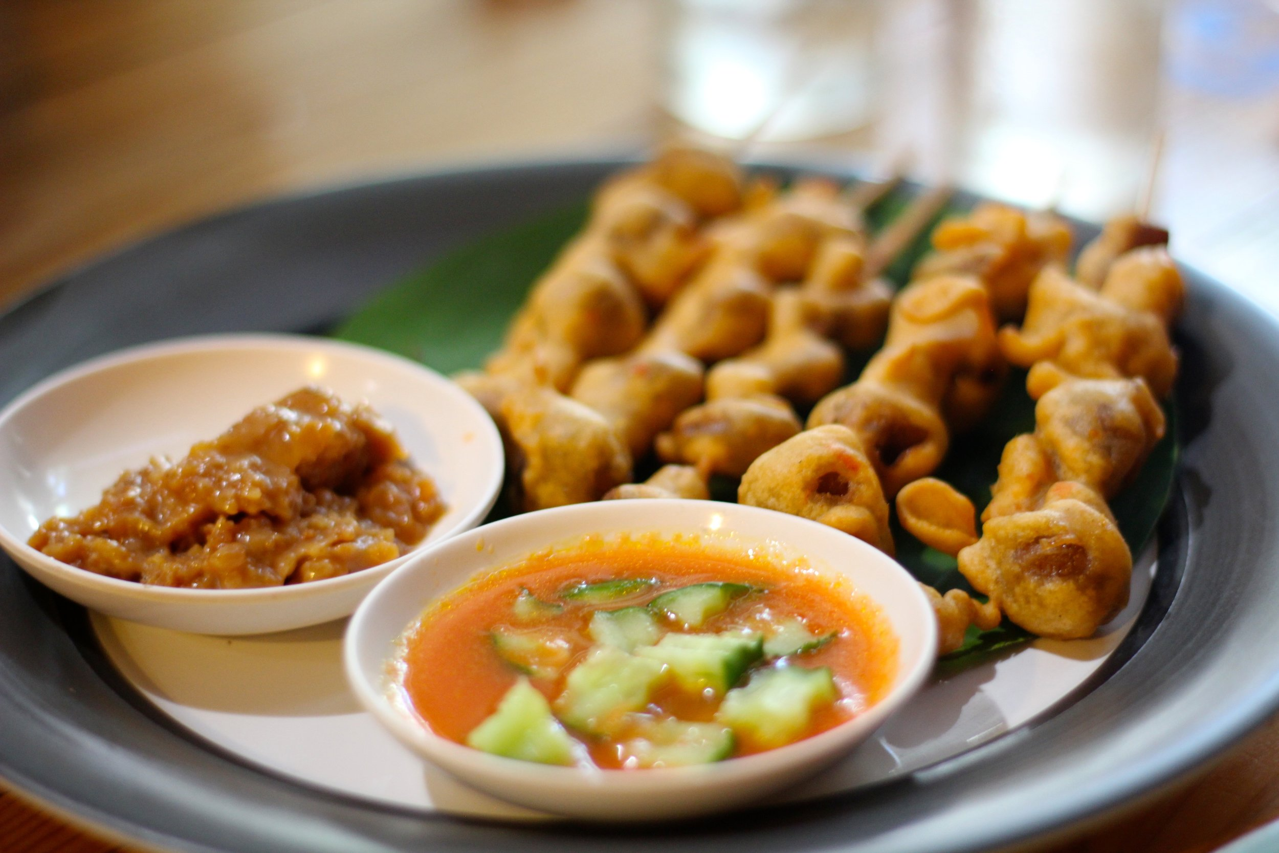Fried mushrooms with peanut sauce and cucumbers at Pun Pun vegetarian