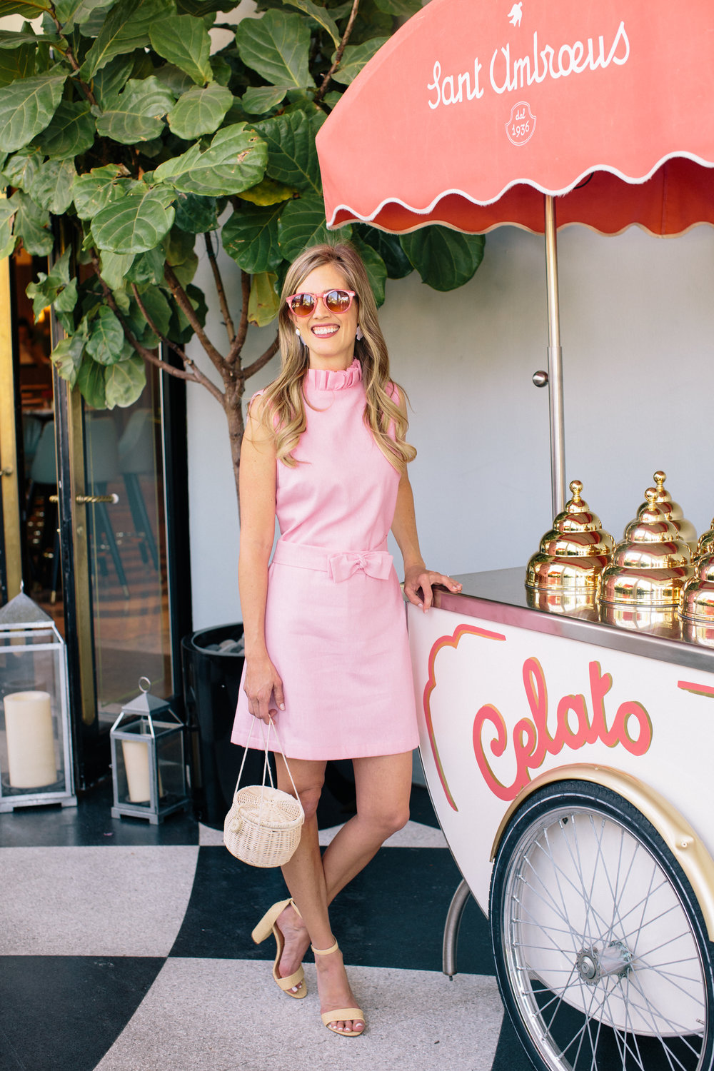 "The Beth Dress - ""The shift dress is a classic Palm Beach style that is perfect for any summer party. For a twist on the traditional shift, we added a ruffle neckline and detachable bow belt to the pink linen dress.""-Beth Beth in the"