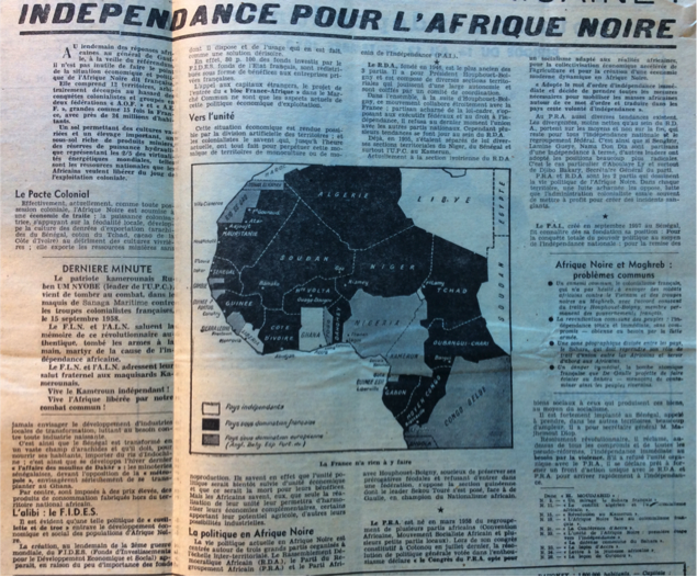 El Moujahid: Independence for Black Africa. They describe a colonial pact and its impact on the region. Black marks the countries that were colonized by the French. Grey colonizes by the British and White were independent.