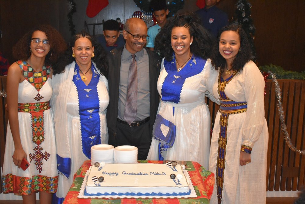 Miela Fetaw with her two younger sisters and her parents. (Picture by Symone Russell)