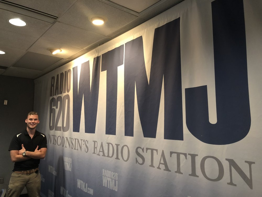 Jordan Gasiorowski at the radio station WTMJ where he works. (Picture by Jordan Gasiorowski)