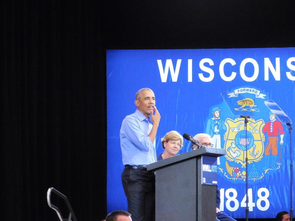 Barack Obama encourages Milwaukee to vote blue. (Picture by Nyesha Stone)