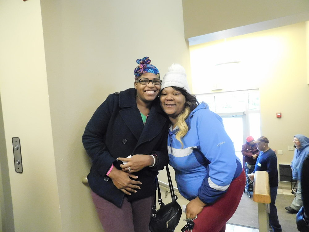 Celia Brown and Tyshek Frazier are happy to join in on the festivities. (Picture by Nyesha Stone)