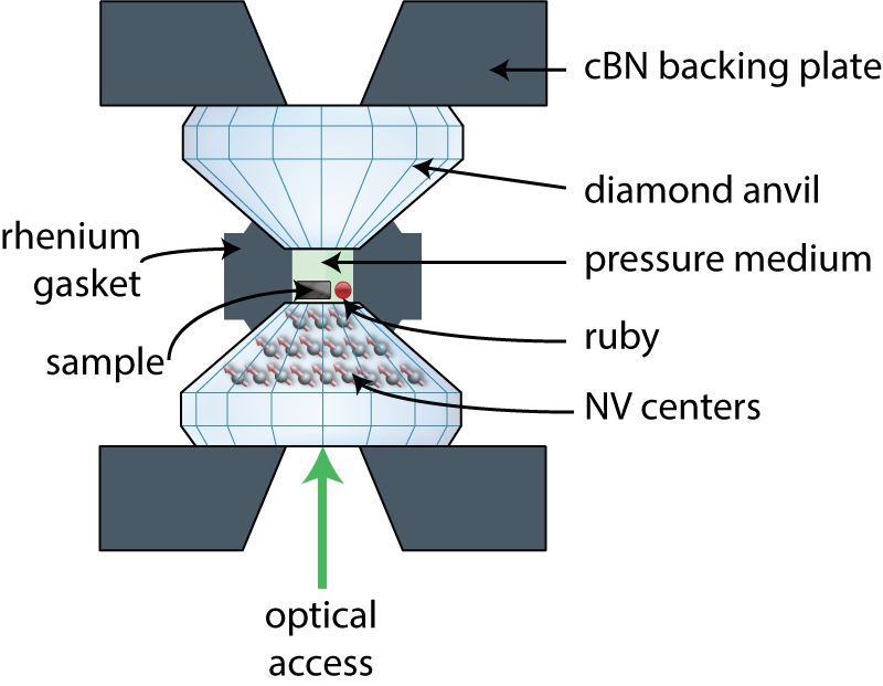 Diamond anvil cell schematic