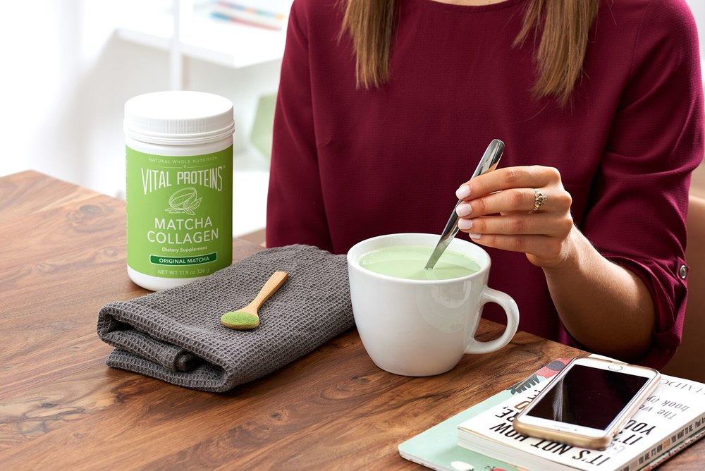 1 Scoop  Vital Proteins Matcha Collagen     8oz Unsweetened Almond Milk (cold or hot)    1tsp Agave or Honey    Blend in  Vitamix   or blender of choice for 30 seconds or until frothy. Enjoy!