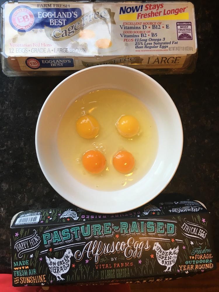 Above: The higher quality, pastured egg has a large, dark and bulbous yolk and much thicker shell.