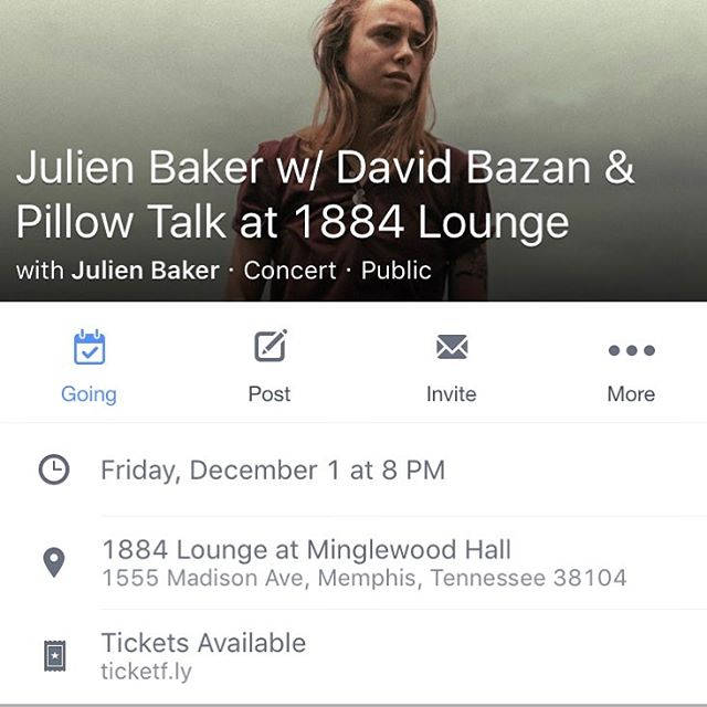 The cat's out of the bag. We are opening for our dear friend @julienrbaker at her hometown show alongside @davidbazan at 1884 Lounge, Dec 1st.  This show is very meaningful to us for various reasons, if you've been a friend or fan of ours the past few years please come out and join us for this special night!