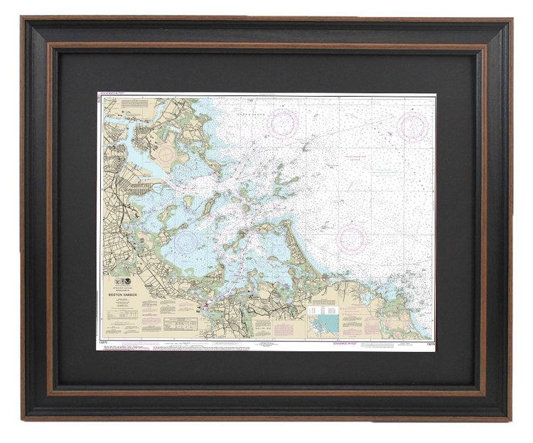 FRAMED NAUTICAL MAPS — Framed Nautical Map 13270 - Boston Harbor