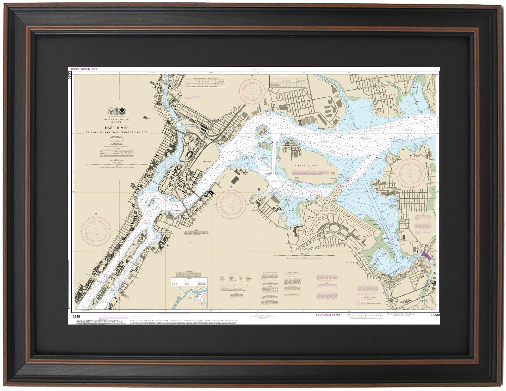 Framed Nautical Maps Framed Nautical Map 12339 East River Ny