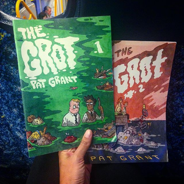 A big huge massive congrats to @patgrantart for the launch of #thegrot volumes 1 & 2 on Friday. They will be keeping me company on the commute this week 🤓👌🏾✏️🖌🖍📕📗 #comics #graphicnovel #fiveyearshardyaka