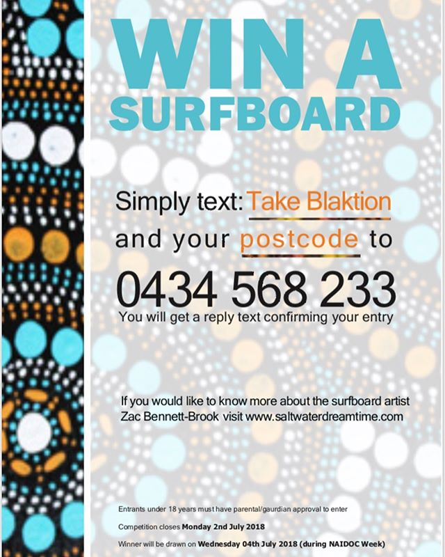 Want to win a #deadly #aboriginal designed #surfboard by #Illawarra local artist Zac Bennett-Brook? It's as easy as sending a text! Winner will be drawn during #naidocweek 🏄🏿‍♀️🏄🏼‍♀️🏄🏾‍♀️🏄🏻‍♀️🏄🏽‍♀️🖤💛❤️
