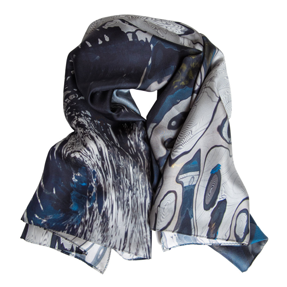 Reflections II  silk twill scarf, limited edition of 15.