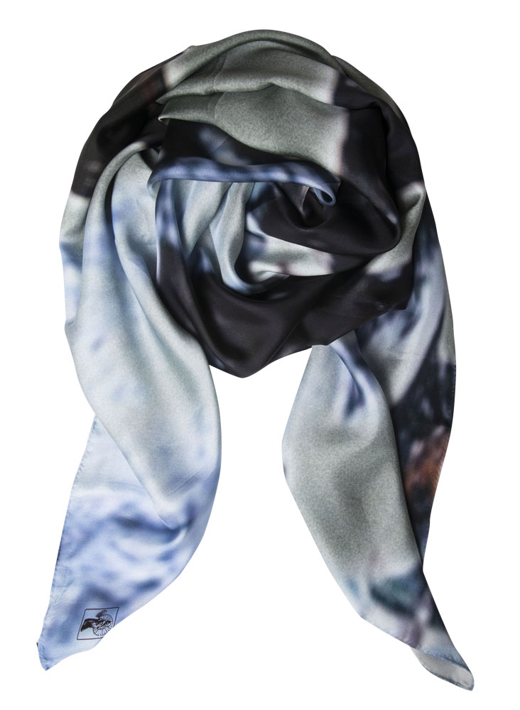 Snowfall Blooming  silk twill scarf, limited edition of 15.