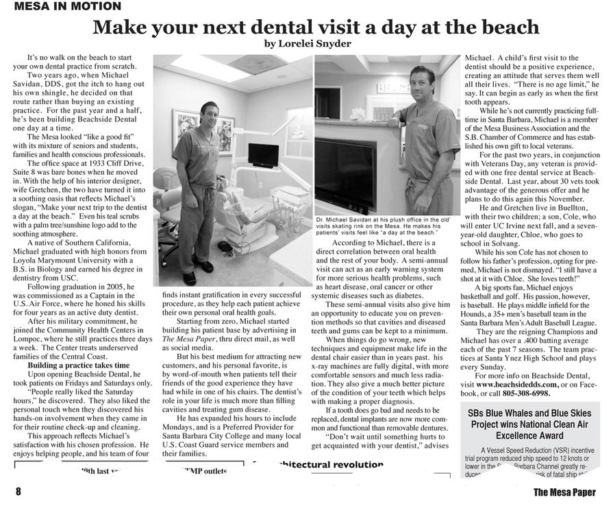 Beachside Dental Mesa in Motion Article