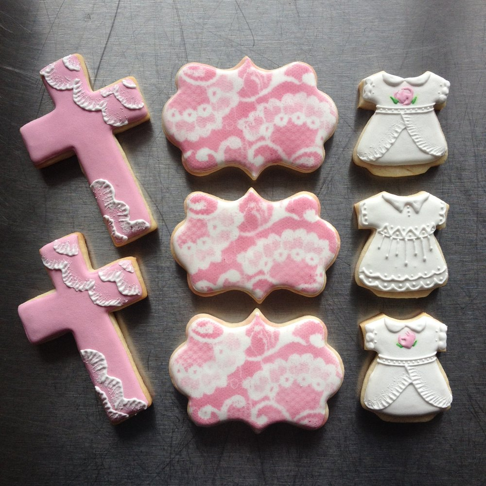 Pink Girl Baptism Cookies by Seed Confections