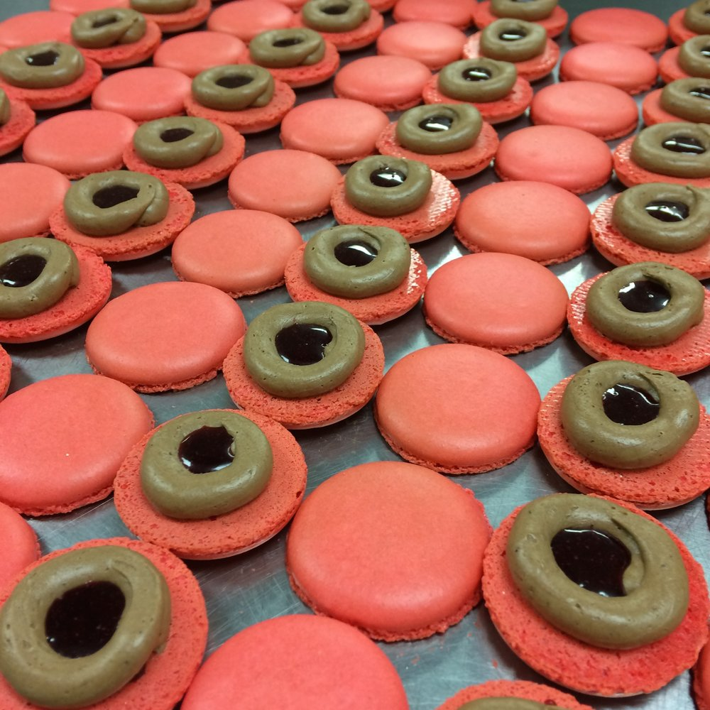 Chocolate and red wine macarons by Seed Confections