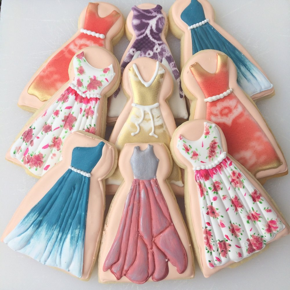 glamorous dress cookies