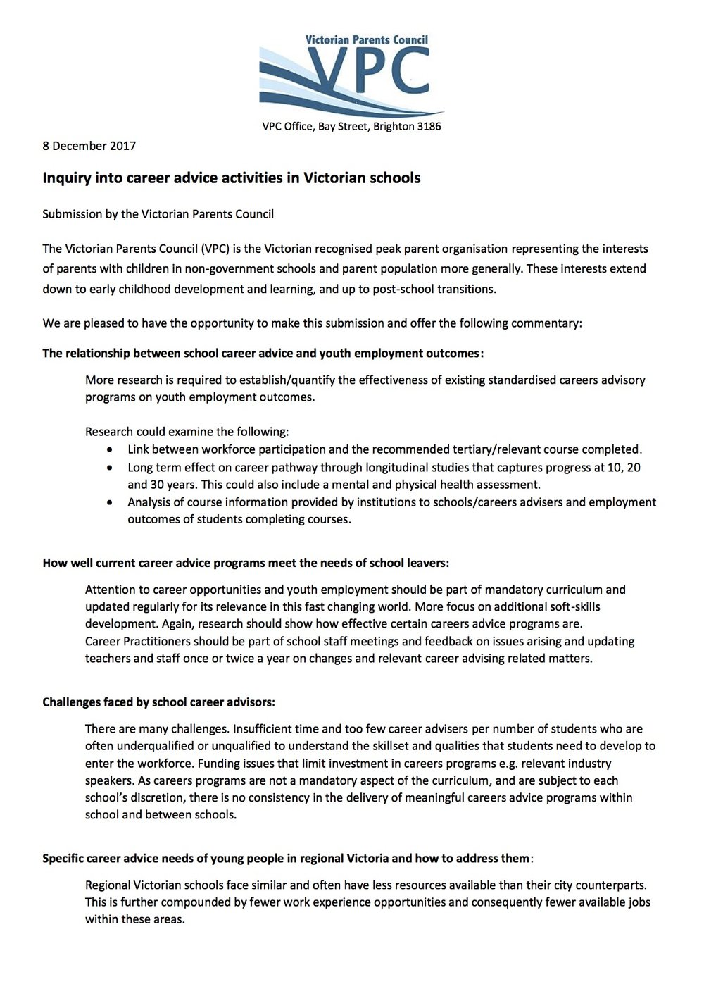 Inquiry into career advice activities in Victorian schools