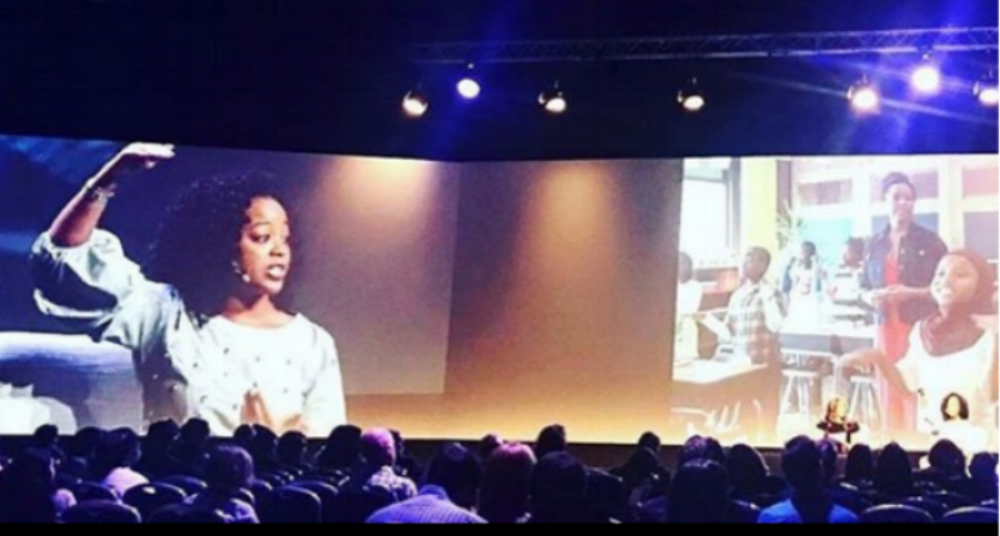 Jasmyn Wright leading a keynote at the 2018 BETT Excel London Conference -