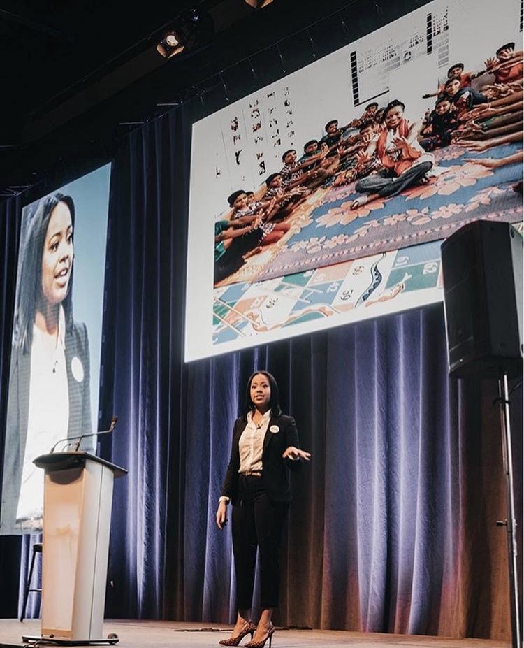 Jasmyn Wright speaking at the Greater Edmonton Teachers' Convention in Edmonton, Canada