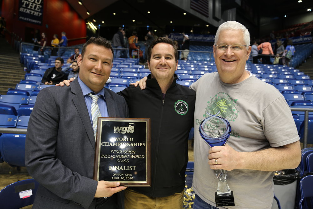 Joe Roach ,  Paul Wiercioch , and  Dave Flynn with the Percussion Independent World Class Fan's Favorite Award in 2016