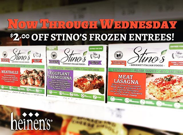 Now through Wednesday, save $2.00 on all Stino's Frozen Gourmet Entreés at your favorite Heinen's grocery stores! Our authentic Italian meals are handcrafted in small batches and frozen fresh, you can taste the difference! 🇮🇹️ . . #stinofoods #eggplantparmigiana #meatballs #lasagna #eatitalian #italianfood #stinodanapoli #italianstyle