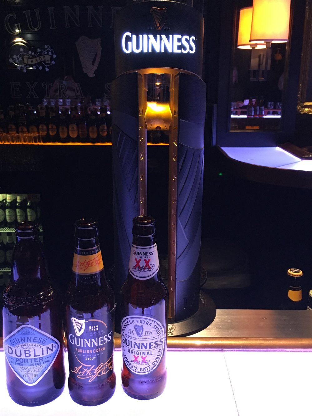 A few of the different types of Guinness you might sample during your experience.