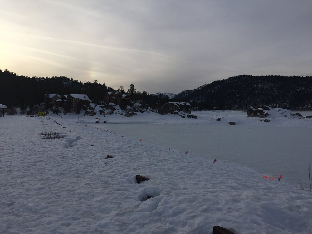 Big Bear Lake, frozen over and as beautiful as ever.