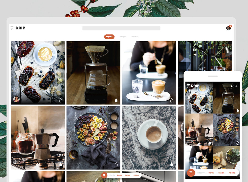 DRIP: A concept for coffee lovers to learn more about coffee by following and connecting with professional baristsas.